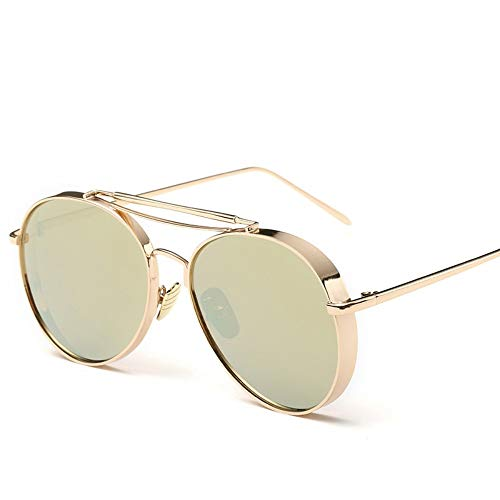 Sonnenbrillen. Retro Pilot Sonnenbrille Frauen Gespiegelt Steampunk Runder Kreis Schattierungen Vintage Outdoor Reisen Sommer Staub Uv400 Gold Gold