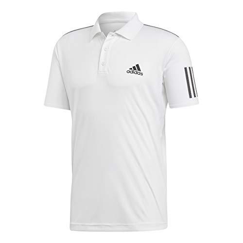 adidas Herren Club 3-Streifen Poloshirt, White/Black, L