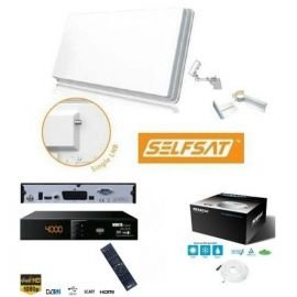 SelfSat Flachantenne H30D Single Antenne HD-Ready inkl. 1x Nokta Digital HDTV 6110 FTA Sat Receiver + Megasat 7mm Koaxialkabel 10m