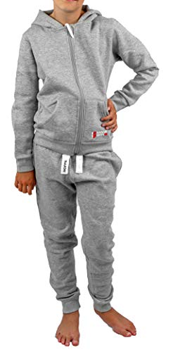 Gennadi Hoppe Kinder Sweat Jogginganzug Sportanzug Trainingsanzug, hellgrau, 110/116