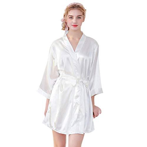 TTZ Kimono Morgenmantel Satin Kimono Robe Lange Reine Farbe Kimono Brautjungfer Bademantel Mit Spitzenbesatz Für Nachtwäsche Mädchen Bonding Party Hochzeit Pyjama (Color : XL(160-168cm/55-60kg))