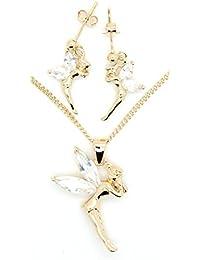 """Kala-isbijoux - Colgante (3 cm con anilla), pendientes (2,5 cm) """"hada campanilla"""" y cadena (45 cm) chapado en oro 750/1000 - 5 micras - con óxido de circonio - Para mujer"""