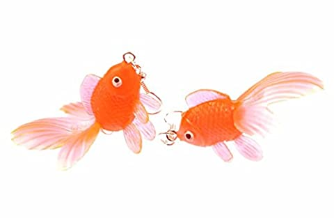 Goldfish earrings Betta fish aquarium fish Miniblings Koi neon orange