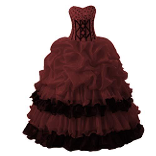 O.D.W Damen Ruffled Handgefertigt A-Linie Prinzessin Gotisch Hochzeitskleider Vintage Party...
