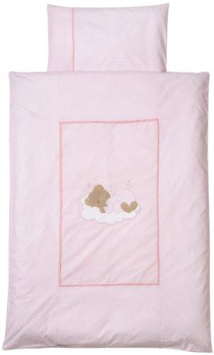 Easy Baby 410-82 Parure de lit 100 x 135 cm Motif ourson endormi Rose