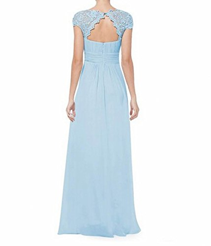 Leader de la beauté femmes robe de soirée dos ouvert froncé Bleu - Bleu