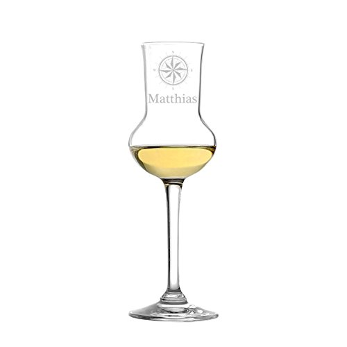 polar-effekt Stölzle Lausitz - Bicchiere da Grappa in Vetro soffiato con Incisione, 87 ml, Motivo Bussola Elegante