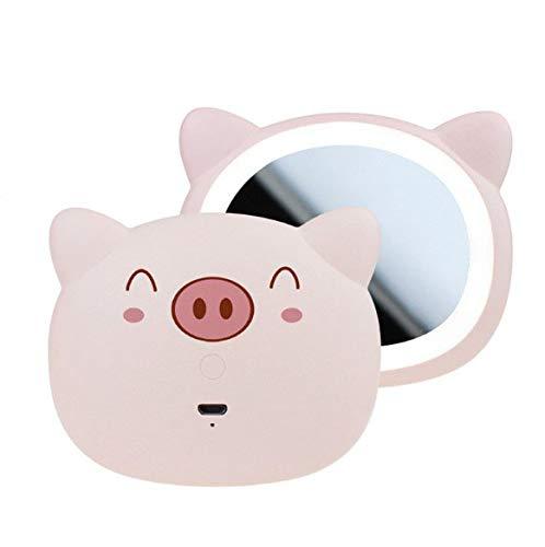 Miroir de maquillage, miroir mignon de vanité de porc avec la lumière, côté simple avec le cadeau mené léger de maquillage de miroir de maquillage (Color : Pink)