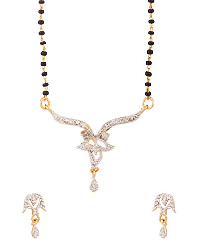 Voylla Single Chain Gold Tone Mangalsutra Set Dazzling Sparkle  available at amazon for Rs.184