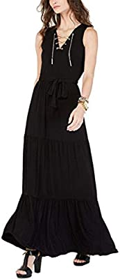 Michael Michael Kors Women's Chain Lace-Up V-Neck Matte Jersey Tiered Maxi Dress, Black/Gold