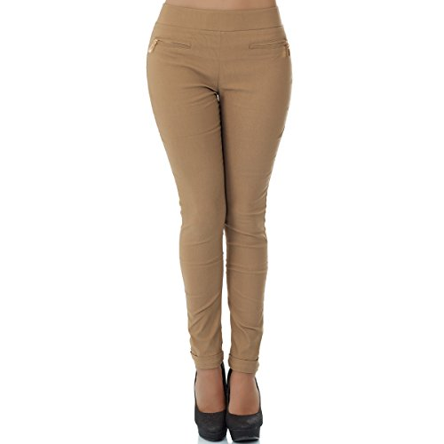 malucas Damen Hose Stoffhose Stretch Röhre Skinny Leggings Jeggings Treggings Leggins Slim Fit, Größe:36, Farbe:Camel