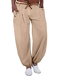 42f2a30d7944 Koly Pantalon Sarouel Femme Chic Yoga Sport Pantalon Taille Haute Large  Jambe Bouffant Femme Palazzo Pantalons