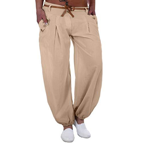 WOZOW Damen Harem Kurze Hosen Übergröße Solid Bettwäsche Baumwolle Lose Pants Low Waist Straight Leg Bequem Yoga Lang Ankle Pumphose (S,Beige) (S,Beige)