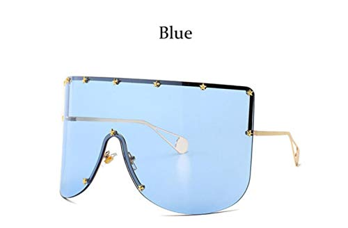 Cranky Orange 2019 Fashion Oversized Shield Sonnenbrille Damen Herren Luxulry Randlos Metall Damen Sonnenbrille Shades Damen, Blau