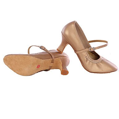 Scarpe da ballo-Personalizzabile-Da donna-Balli latino-americani / Sneakers da danza moderna-Tacco cubano-Di pelle-Nero / Argento / Altro Cream