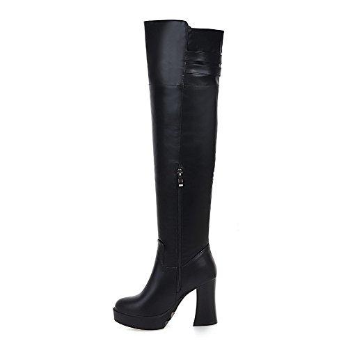 AllhqFashion Damen Reißverschluss Niedriger Absatz Rein Hoch-Spitze Stiefel mit Metallisch, Braun, 39