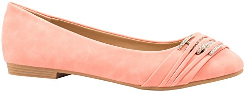 Elara Damen Ballerinas | Bequeme Lederoptik Flats | Freizeitschuhe Pink Marseille