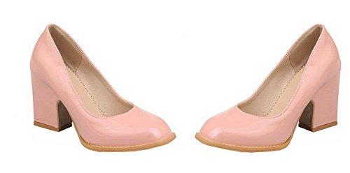 VogueZone009 Femme Verni Tire Fermeture D'Orteil à Talon Haut Chaussures Légeres Rose