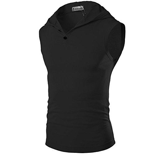 Glestore Herren Top T-Shirt mit Kapuze Sport Elastizität Slim Fit Sommer Einfarbig Schwarz Weiss Grau Blau XS-L 01Schwarz