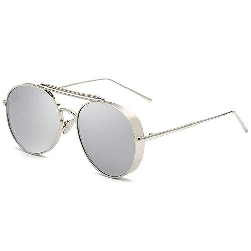 Herren Sonnenbrillen Retro Polarized Sunglasses Personalized Color Film Unisex-Mode-Metall-Sonnenbrille LTJHJD (Color : 02Sliver, Size : Kostenlos)