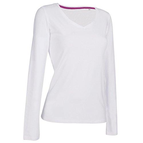 ire Damen Longsleeve / T-Shirt, V-Ausschnitt, Langarm (L) (Weiß) L,Weiß (Stars Ausschnitte)