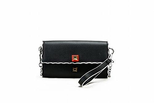Weibliche Tasche Mini Messenger Tasche Handtasche Damen Schulter Kleine Quadratische Tasche Schwarz