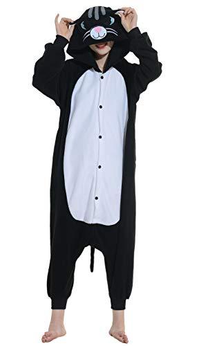 sies Schwarz Katze Erwachsene Kigurumi Unisex Cospaly Nachtwäsche für Hohe 140-187CM ()