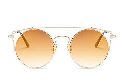 Smile Europäische und AmerikaNische Mode Neue Persönlichkeit Cat Eye Sonnenbrillen Metall Runde Rahmen Sonnenbrille Trend Damen mit Sonnenbrille,NO3