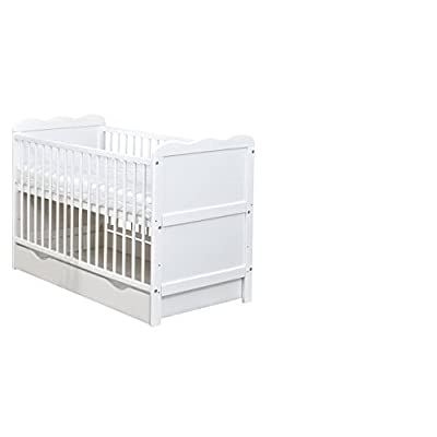 White Wooden Full Size 140x70cm Baby Cot Bed with Drawer and a Mattress  Allison Baby UK Ltd