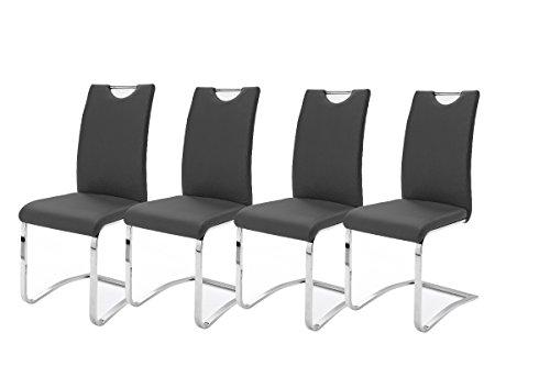 Robas Lund, Stuhl, Esszimmerstuhl, Schwingerstuhl, Koeln, 4er Set, Chrom/Kunstleder/schwarz, 43 x 100 x 57 cm