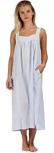 The1forU 100% Algodón Mujer Camisón Sin Mangas + Bolsillos 7 tamaños Meghan - Azul, 4XL