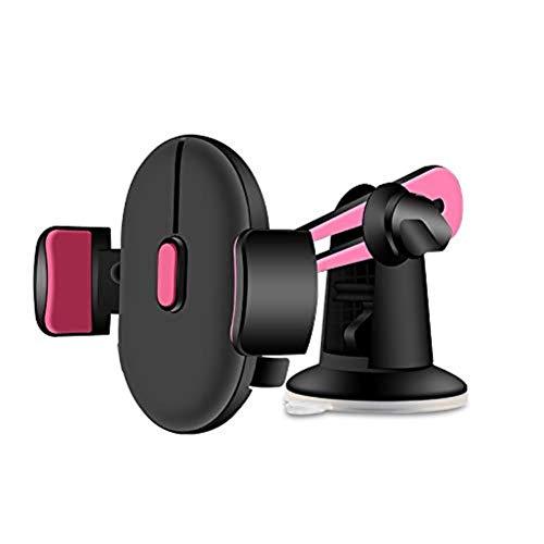XFZK Autotelefonhalter, Universal Versenkbare Autohalterung Für Telefon GPS Navigator Stehen Cradle Saugnapf Einstellbar Rotat (größe : Rose Rot)
