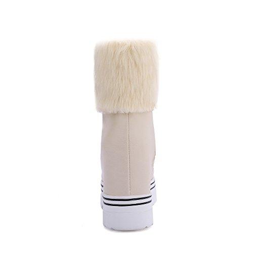 AllhqFashion Damen Weiches Material Reißverschluss Niedrig-Spitze Stiefel Cremefarben