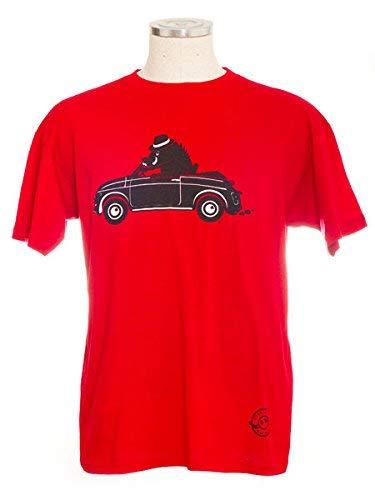 io vivo in italia T-Shirt Cinghiale su Auto d'Epoca Tipo Fiat 500 - L