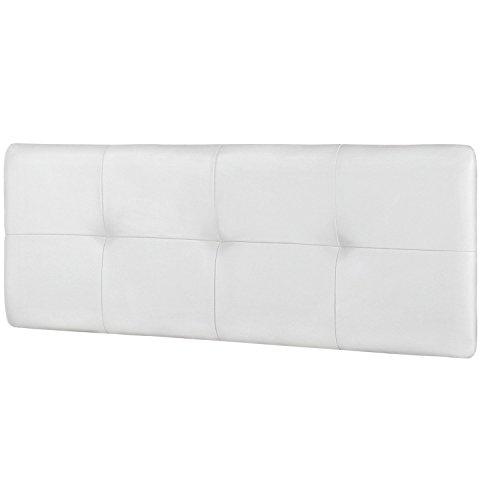 HomeSouth - Cabecero cama matrimonio tapizado en símil piel color Blanco, cabezal modelo Deva, medidas: 160 x 50 x 3,5 cm de fondo