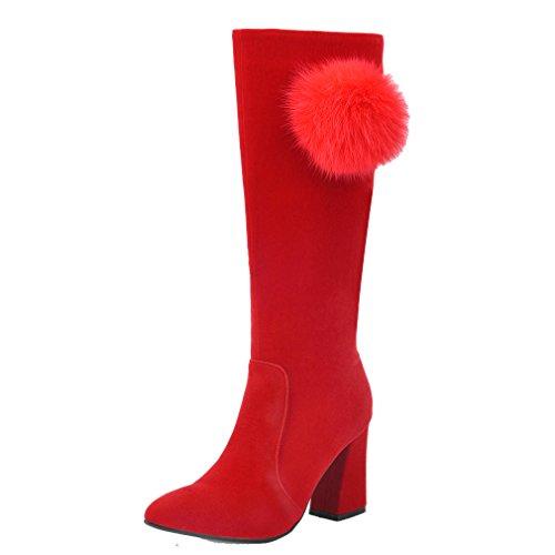 ENMAYER Frauen Schwarz schrubben Kegel-Ferse-hohe Absätze Knie Hohe Winter-Stiefel Weiß