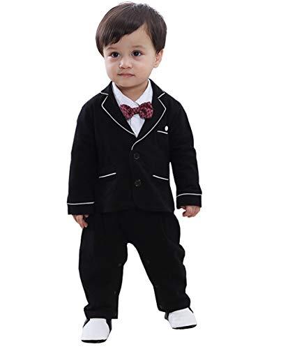 cool elves 2tlg Baby-Jungen Bekleidungssets Strampler + Anzug Mantel Gentleman Langarm Einteiler Fliege Hochzeit Taufgeschenk Bowknot Schwarz Größe 90 -