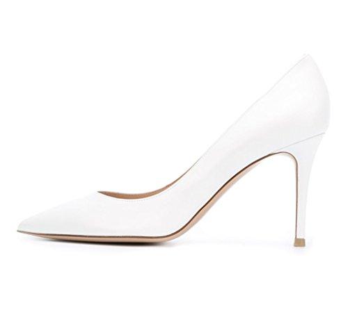 EDEFS Damenschuhe Spitzschuh 80mm Patent Pumps Beleg auf Frühling Schuhe Whitesuede