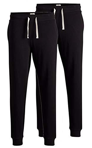 JACK & JONES 2er Pack Set Herren Jogginghosen Sweatpants aus 100% Baumwolle schwarz, blau, grau, dunkelgrau mit Bündchen lang Slim Fit Gratis Wäschenetz von B46 (2er Pack schwarz, L)
