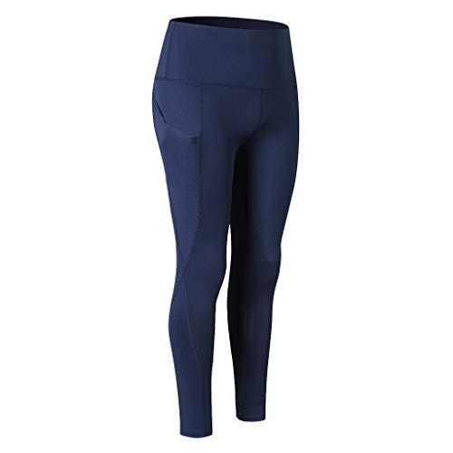 Damen Fashion High Waist Bauchkontrolle, weiche Leggings, Stickerei, weich und atmungsaktiv, für Workout/Yoga XXL navy - Nahtlose Festen Kontrolle Legging
