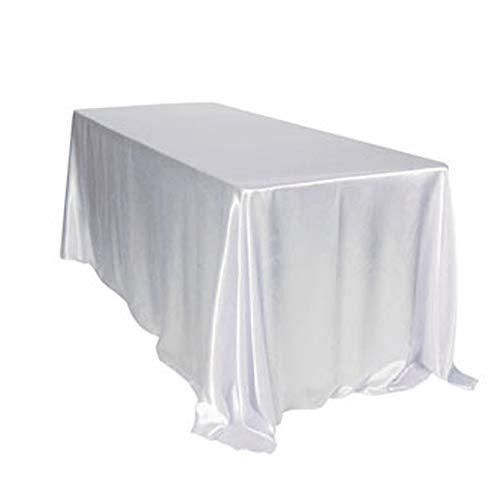 Ccsimple 228 * 335cm rettangolare tovaglia in raso per la decorazione di matrimonio/compleanno/battesimo del bambino/eventi - bianco