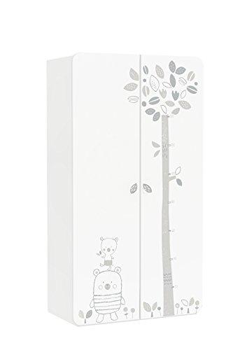 Demeyere Bear Kleiderschrank, 2-türig, MDF, weiß / beige, 96,5 x 51,5 x 184,7 cm