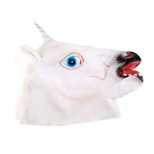 73JohnPol Divertente Creativo Halloween Bianco Unicorno Testa di Cavallo Maschera in Lattice per Un Pazzo Costume Party Costume Maschera, Bianco