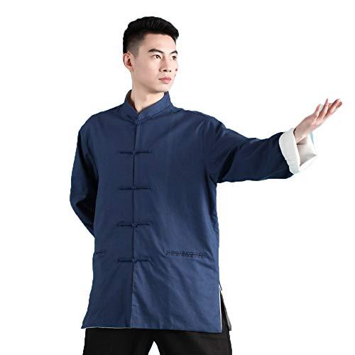 FHKL Tai Chi Kleidung Herren Doppelschicht Leinen Baumwolle Tang Anzug Ausübung Kleidung Leistung Kampfkunst Kleidung Frühling Und Herbst (Blue Wings Kostüm)