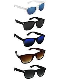 Silver Kartz UV 400 Protection Unisex Sunglasses (aio5, Black) - Pack of 5