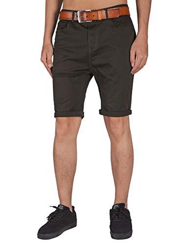 ITALY MORN Herren Chino Shorts Hosen Taste Reißverschluss Dunkel Freizeithose (Schokolade, S) -
