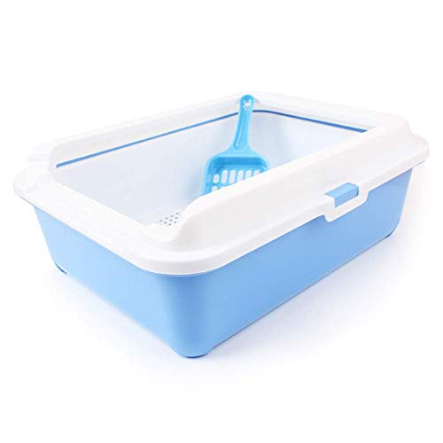 HYLH  Large Sifting Litter Box Reusable Replacement Cat Pan Pet Litter Tray, 43X33X15CM (Color : Blue)