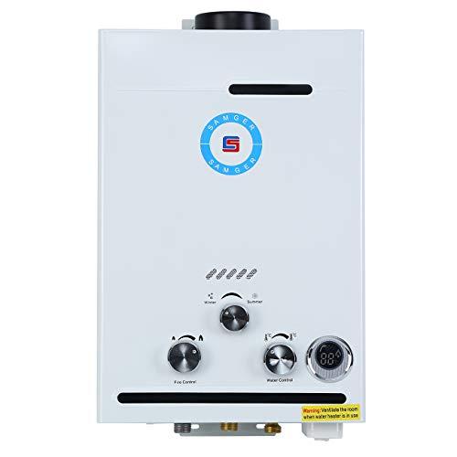Samger Samger 8L Calentador de agua sin tanque Pantalla digital 1.5 GPM LPG Caldera de agua instantánea Acero inoxidable Licuado Petróleo Gas Quemador de agua caliente