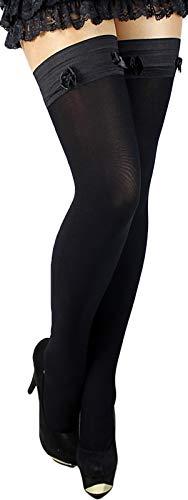 Polen Kostüm - Unbekannt Warme halterlose Strümpfe mit Muster oder ohne Mikrofaser blickdicht mit glattem Silikon-Abschluss (schwarz 5)