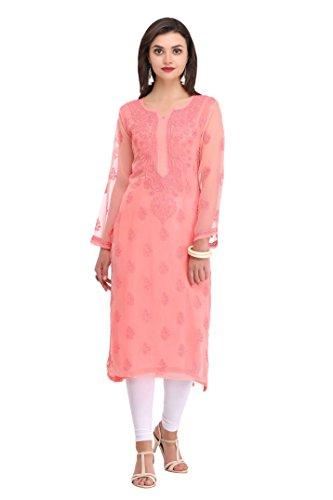 ADA Needlecraft Lucknow Chikankari Faux Georgette Kurti Dress Regular Wear A130753